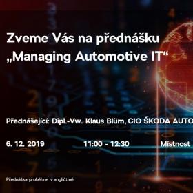 """Přednáška """"Managing Automotive IT"""" dne 6.12.2019"""