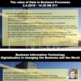 Odborná přednáška: The value of Data in Business Processes – 2.4.2019